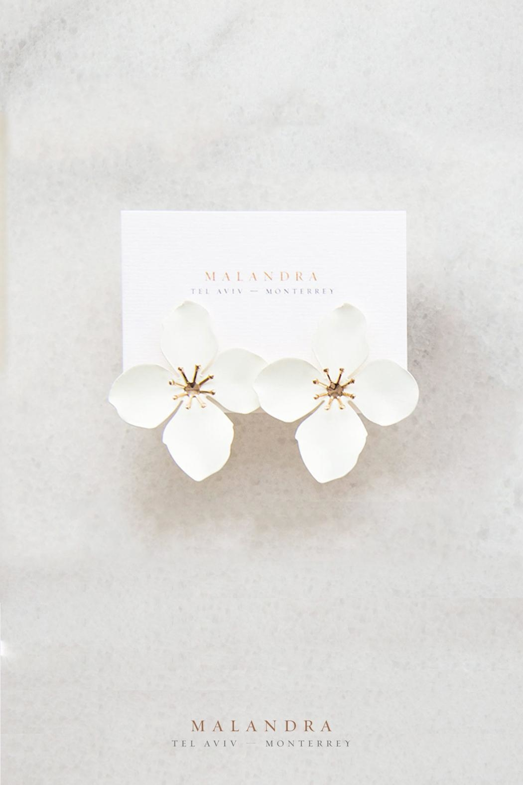 Malandra Jewelry White Flower Earrings From Monterrey By Malandra