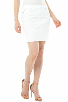 Liverpool  WHITE FREY HEM DENIM SKIRT - Product List Image