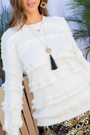 Main Strip White Fringe Sweater - Front cropped