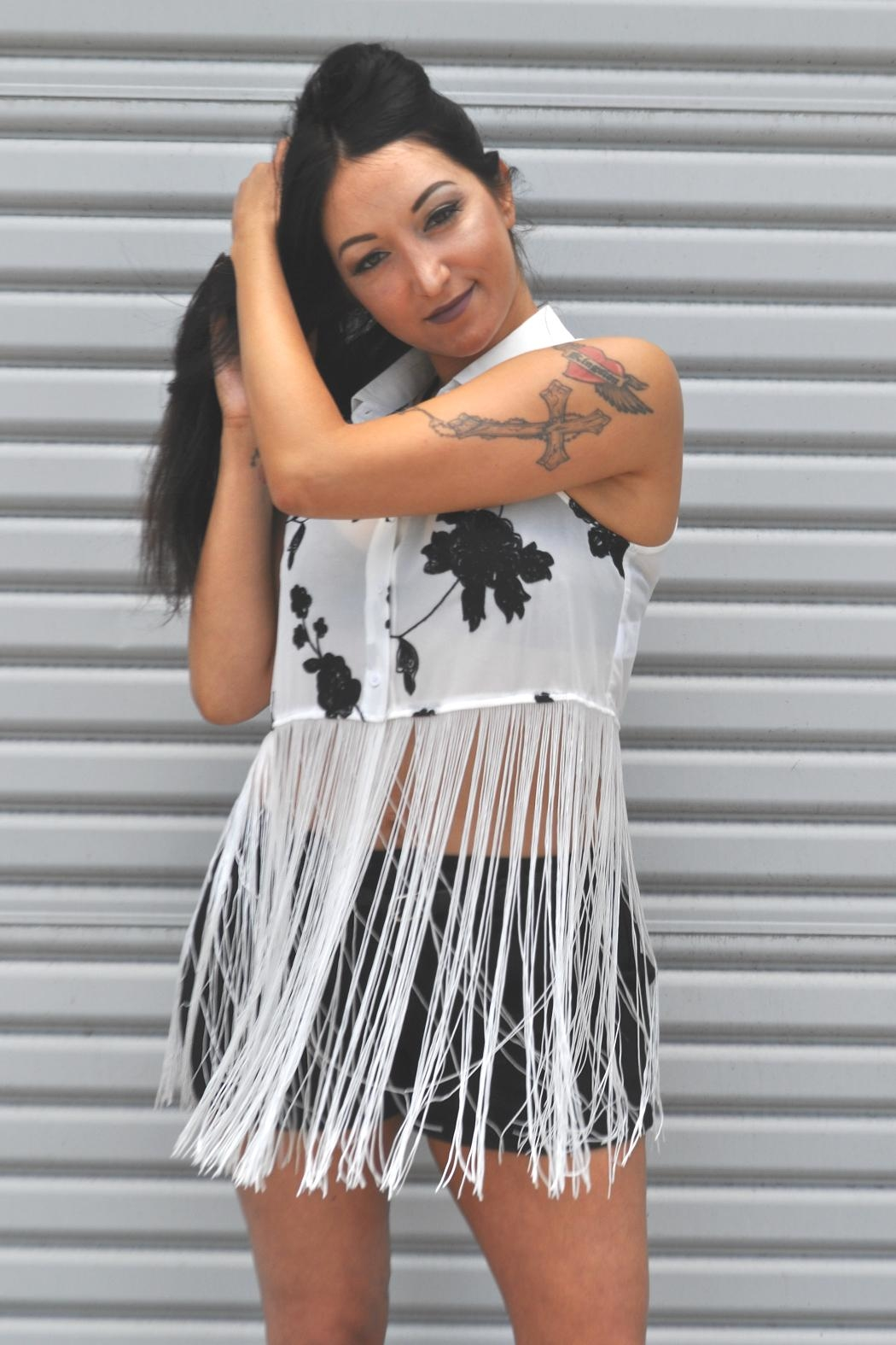 Minx White Fringe Tank - Side Cropped Image