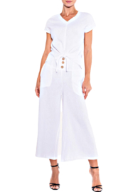 Alison Sheri White Gauze Split Front Top - Product Mini Image