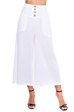 Alison Sheri White Gauze Wood Button Crop Pant - Product List Image