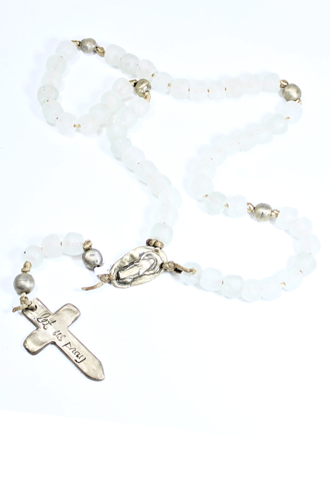 The Birds Nest WHITE GLASS ROSARY WITH MIRACULOUS MEDAL - Front Cropped Image