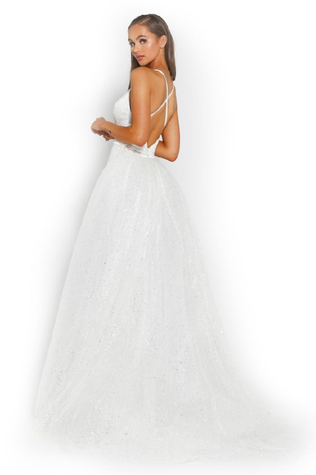 PORTIA AND SCARLETT White Glitter Fit & Flare Bridal Gown With Detachable Train - Side Cropped Image