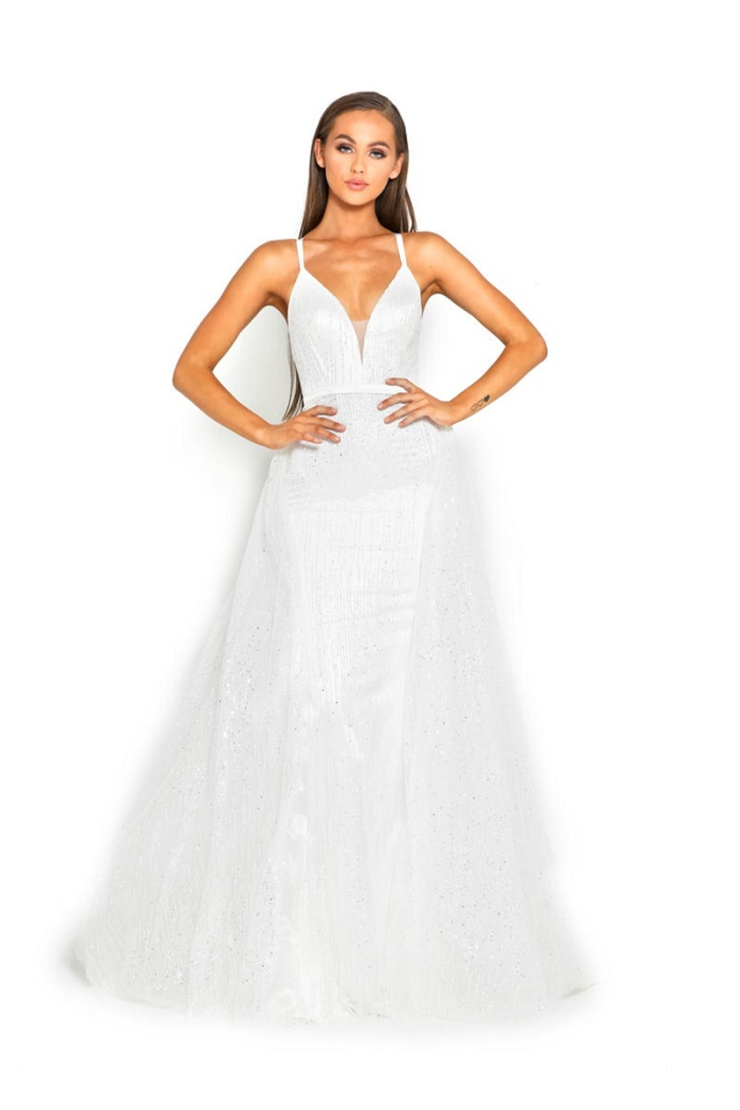 PORTIA AND SCARLETT White Glitter Fit & Flare Bridal Gown With Detachable Train - Main Image