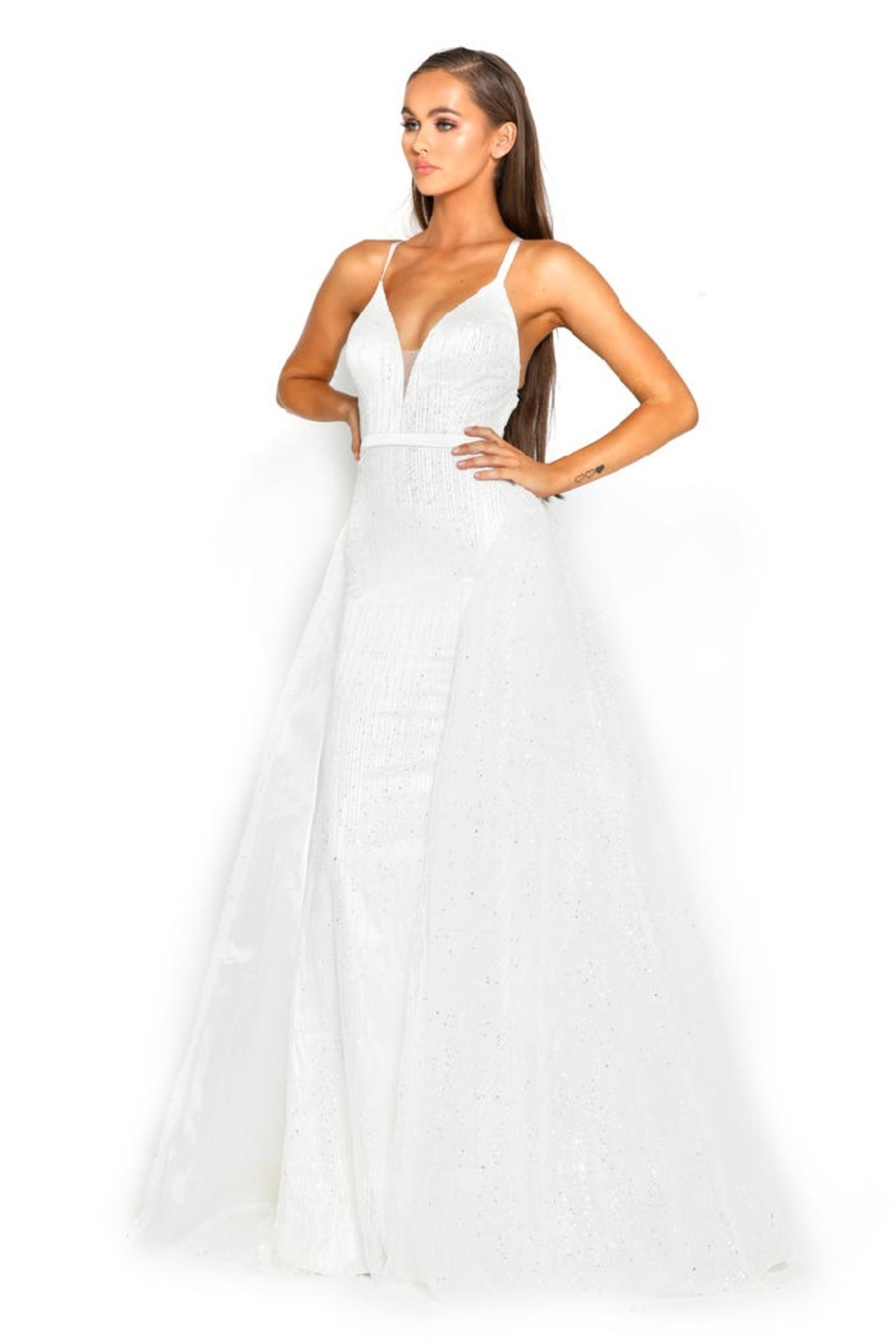 PORTIA AND SCARLETT White Glitter Fit & Flare Bridal Gown With Detachable Train - Front Full Image