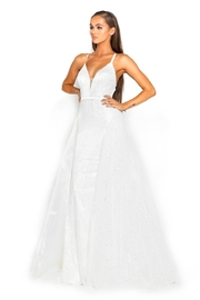 PORTIA AND SCARLETT White Glitter Fit & Flare Bridal Gown With Detachable Train - Front full body
