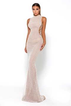 PORTIA AND SCARLETT White Glitter Fit & Flare Long Formal Dress - Product List Image