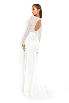 PORTIA AND SCARLETT White Glitter Long Sleeve Bridal Gown - Alternate List Image