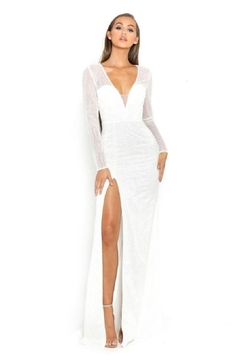 PORTIA AND SCARLETT White Glitter Long Sleeve Bridal Gown - Product List Image