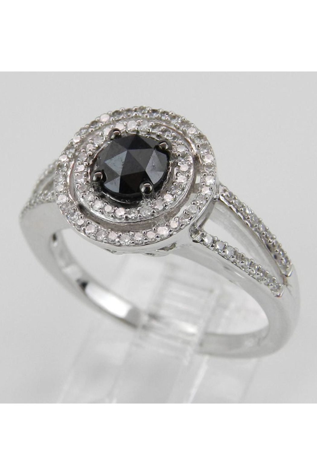 Margolin & Co White Gold Black Diamond Double Halo Engagement Ring - Side Cropped Image