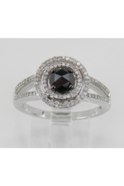 Margolin & Co White Gold Black Diamond Double Halo Engagement Ring - Front cropped