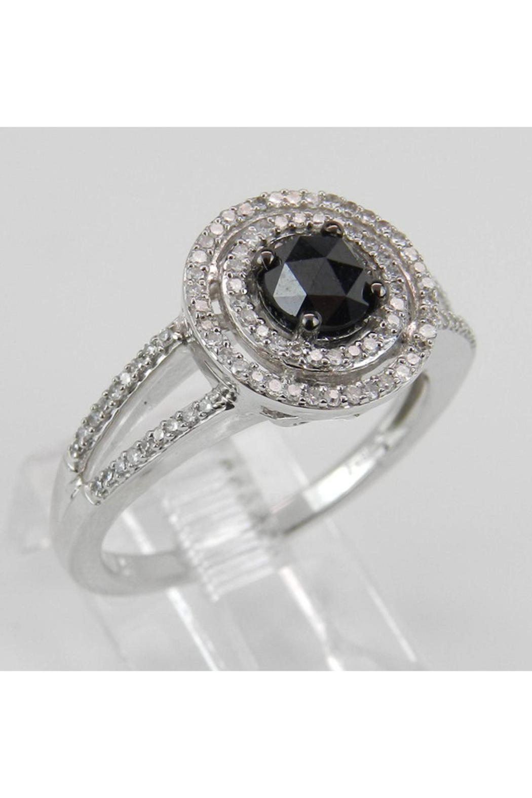 Margolin & Co White Gold Black Diamond Double Halo Engagement Ring - Front Full Image