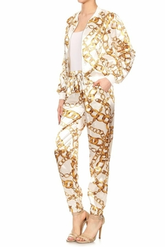 Tiny House of Fashion White & Gold Chain Print Jogger Set - Product List Image