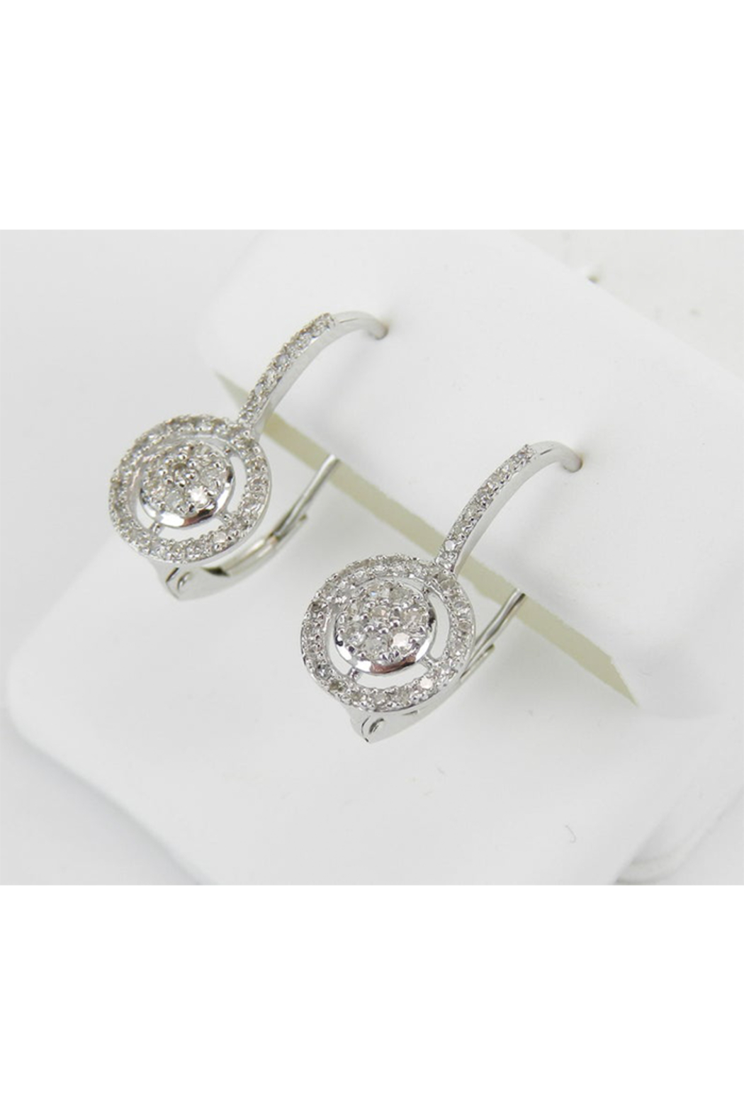 Margolin & Co White Gold Diamond Cluster Halo Drop Earrings Leverback Wedding Gift - Side Cropped Image