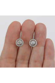 Margolin & Co White Gold Diamond Cluster Halo Drop Earrings Leverback Wedding Gift - Other
