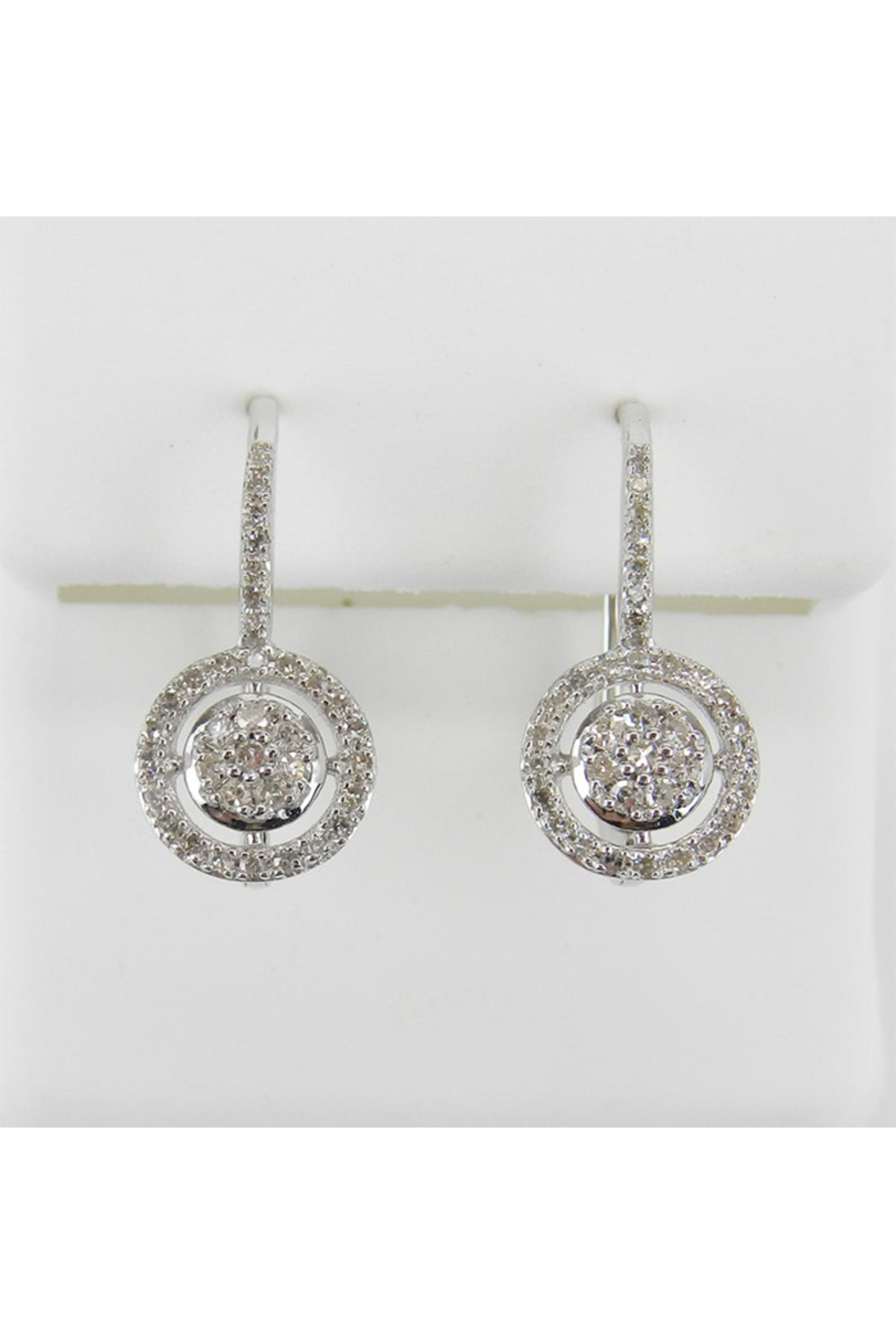 Margolin & Co White Gold Diamond Cluster Halo Drop Earrings Leverback Wedding Gift - Main Image