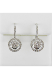 Margolin & Co White Gold Diamond Cluster Halo Drop Earrings Leverback Wedding Gift - Front cropped