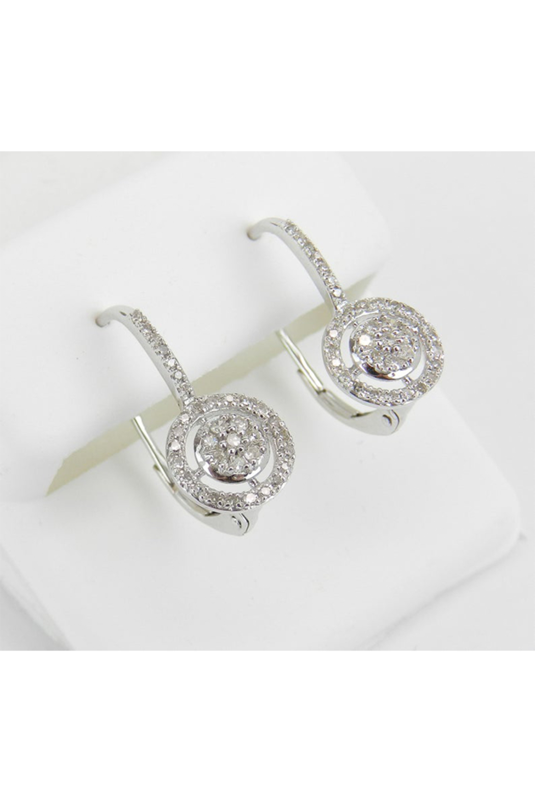 Margolin & Co White Gold Diamond Cluster Halo Drop Earrings Leverback Wedding Gift - Front Full Image