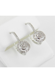 Margolin & Co White Gold Diamond Cluster Halo Drop Earrings Leverback Wedding Gift - Front full body