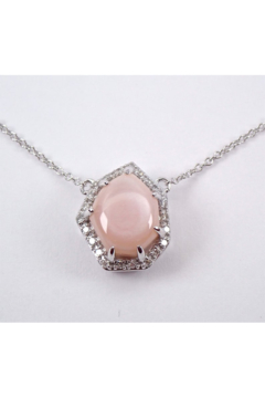 "Shoptiques Product: White Gold Pink Mother of Pearl and Diamond Halo Pendant Necklace 18"" Chain"