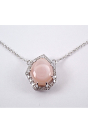 Margolin & Co White Gold Pink Mother of Pearl and Diamond Halo Pendant Necklace 18