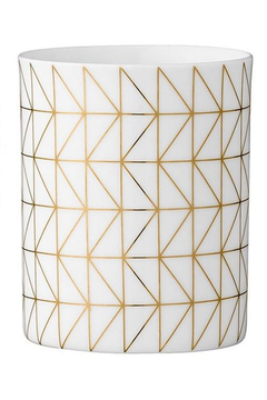 Bloomingville White & Gold Porcelain Tealight Holder Large - Product List Image