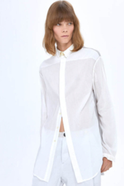 Umit Unal  White/Grey Silk and Cotton Blouse - Product Mini Image