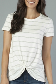Another Love White & Grey Stripe Knot Front Tee - Product Mini Image
