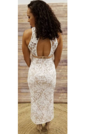 L'atiste White Halter Hi-Low Maxi - Front full body