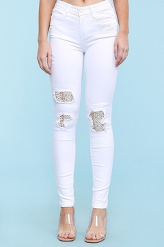 Judy Blue White Lace Distressed Jeans - Product List Image