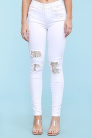 Judy Blue White Lace Distressed Jeans - Product Mini Image