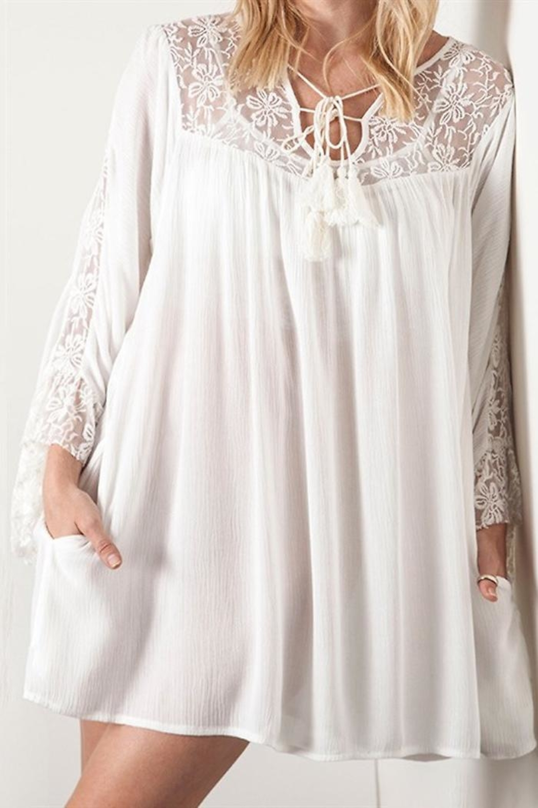 People Outfitter White Lace Dress - Front Full Image