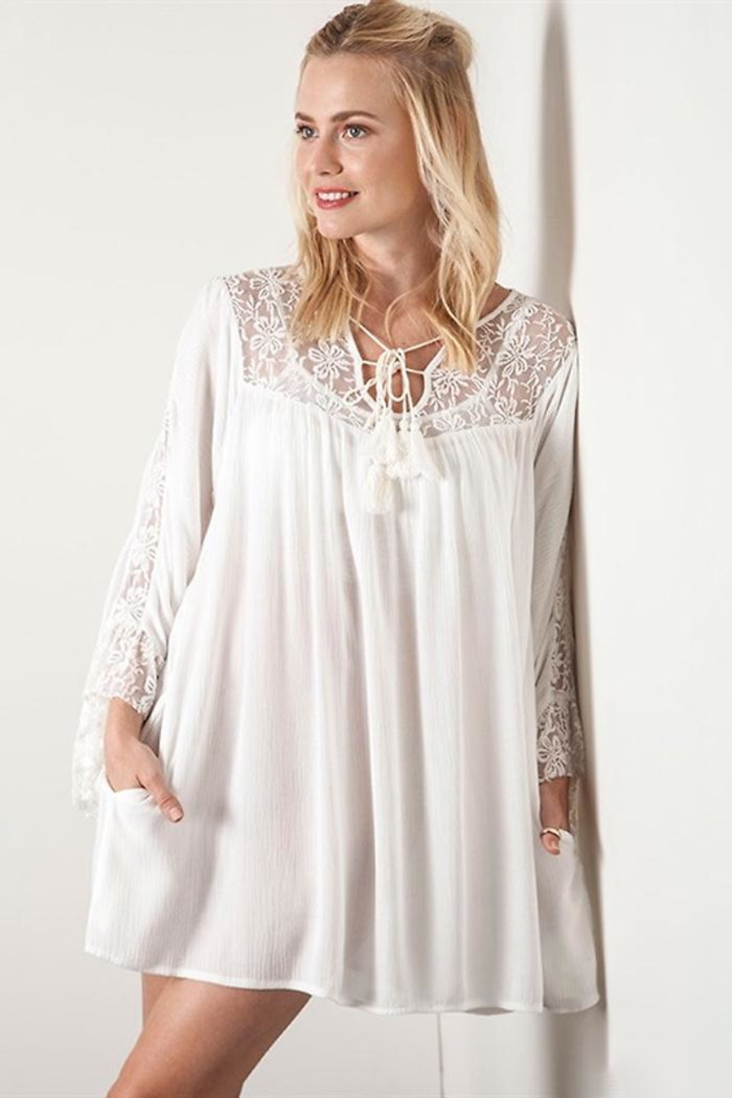 People Outfitter White Lace Dress - Main Image