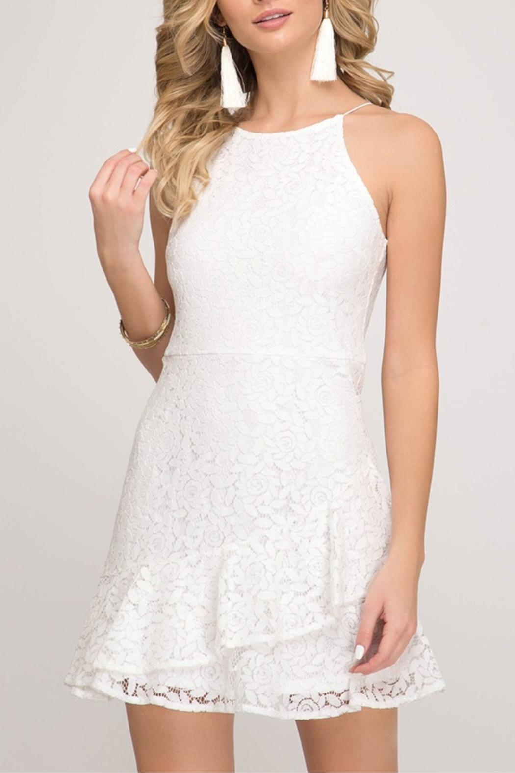 She + Sky Fit-And-Flare Lace Dress - Front Cropped Image