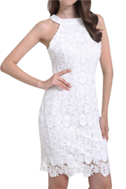 Lyrur White Lace Halter Dress - Product Mini Image