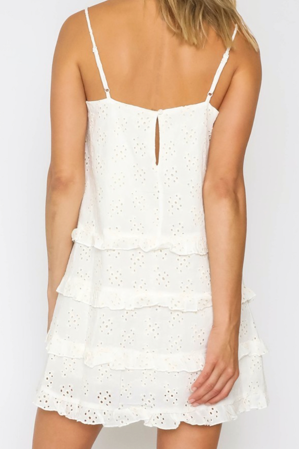 Olivaceous  White Lacey Slip Dress - Front Full Image