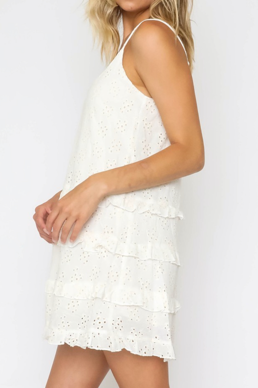 Olivaceous  White Lacey Slip Dress - Main Image