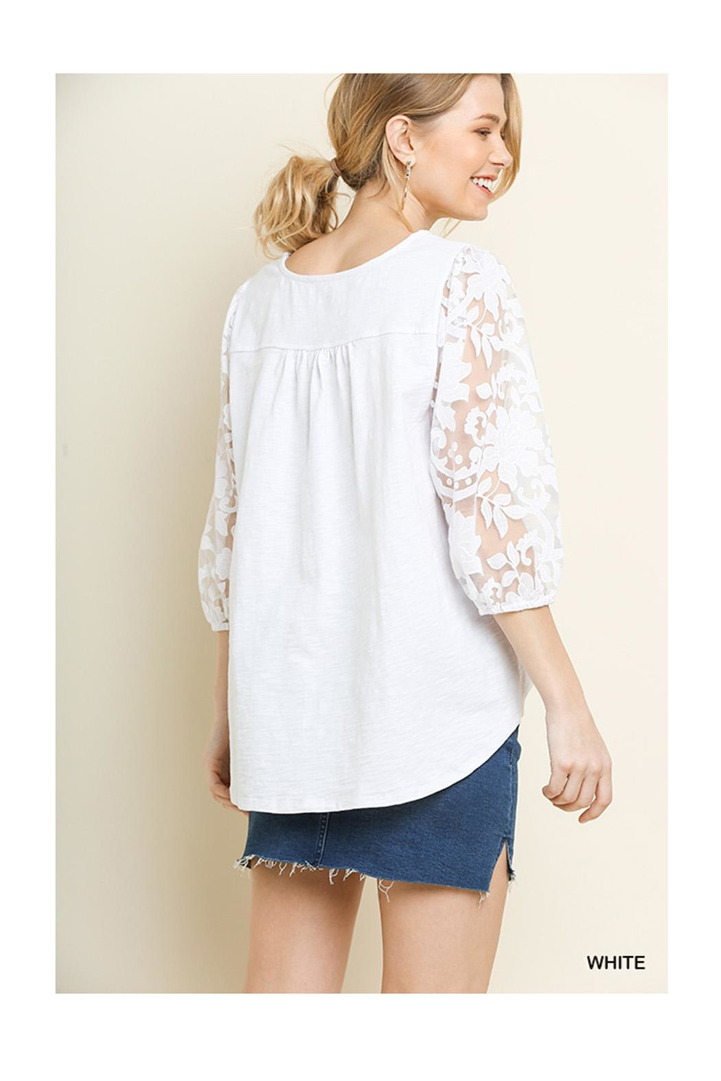 Umgee White Lace Top - Front Full Image