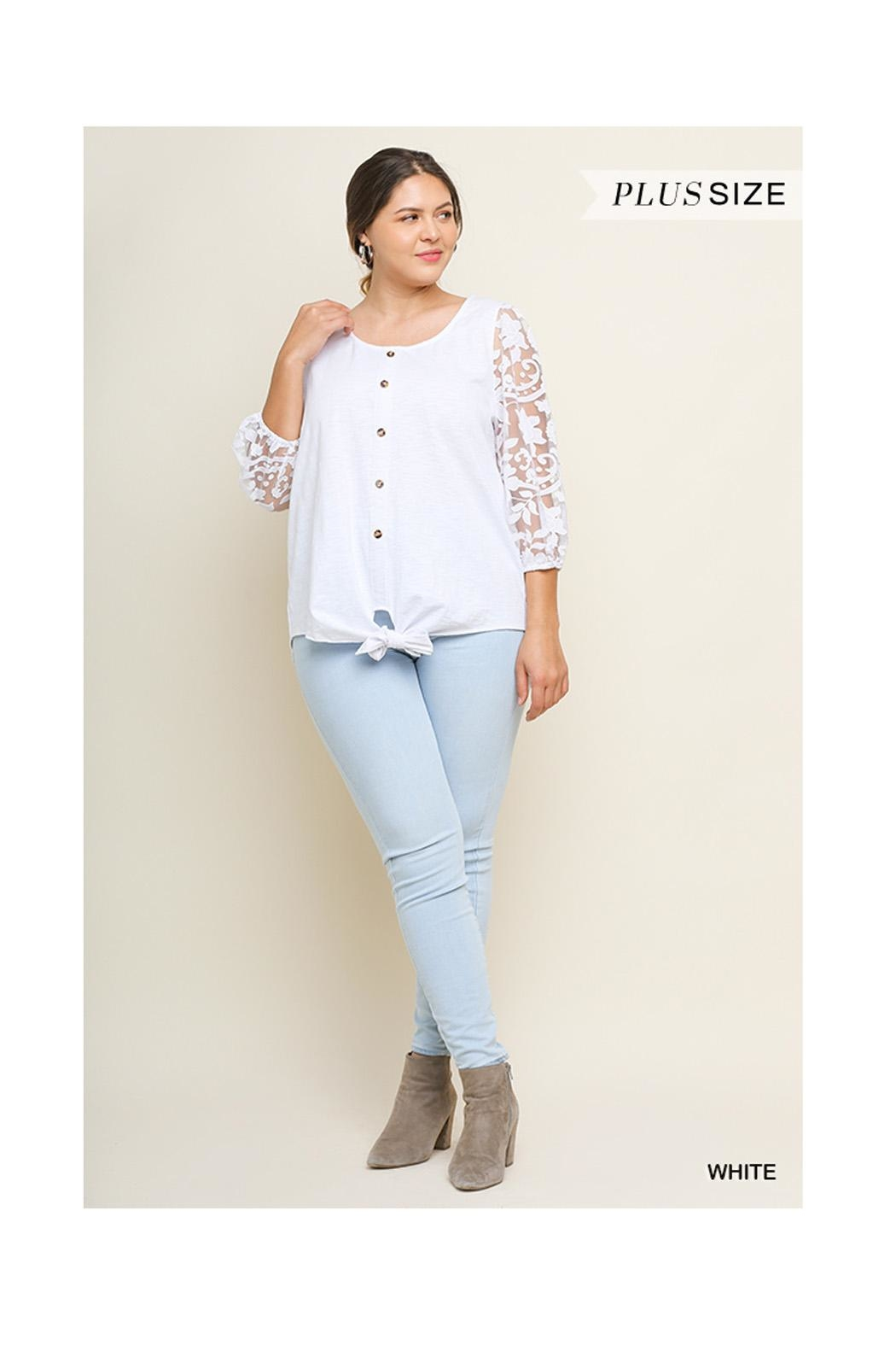 Umgee White Lace Top - Side Cropped Image