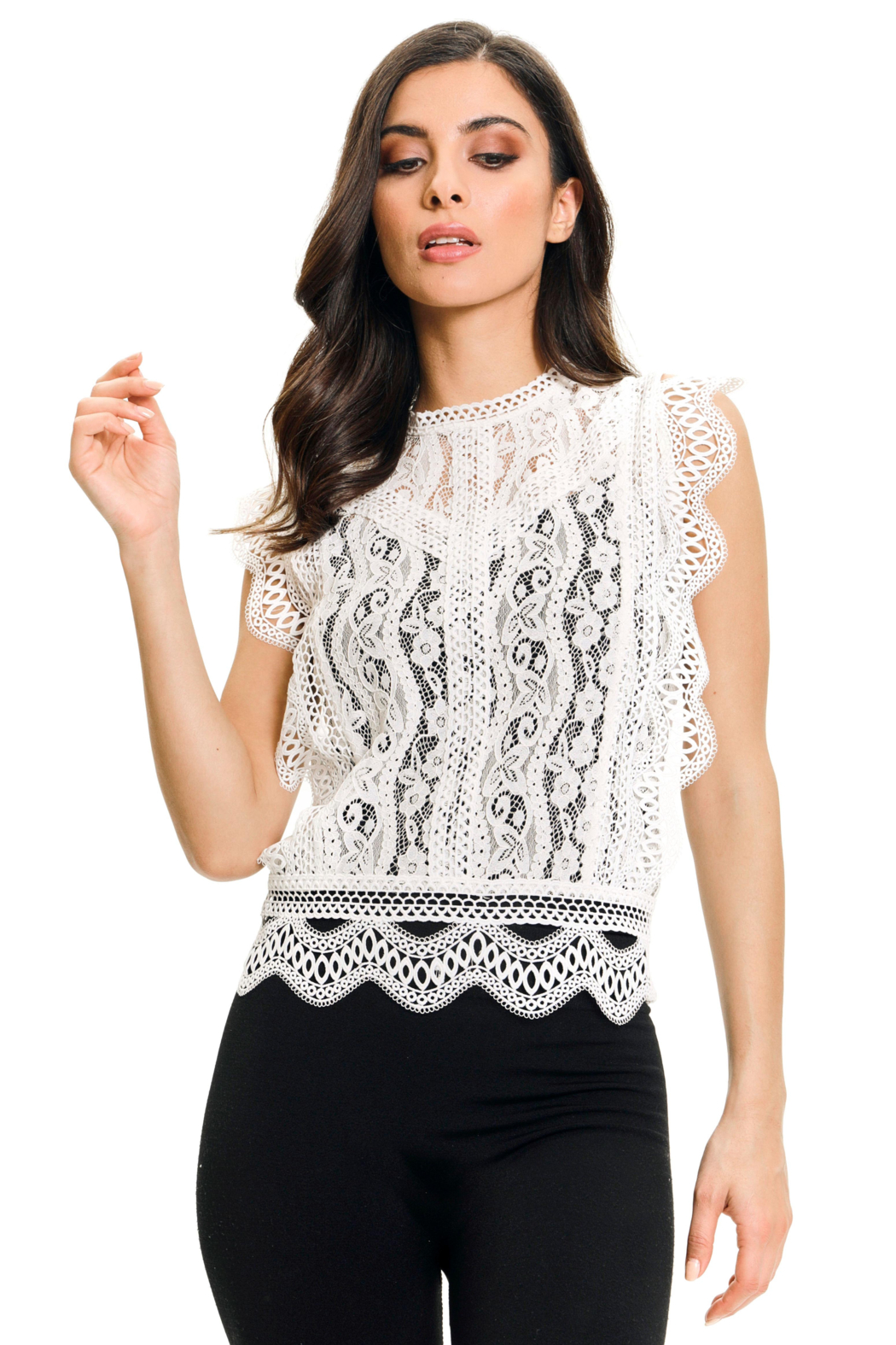 Adore White Lace Top - Main Image