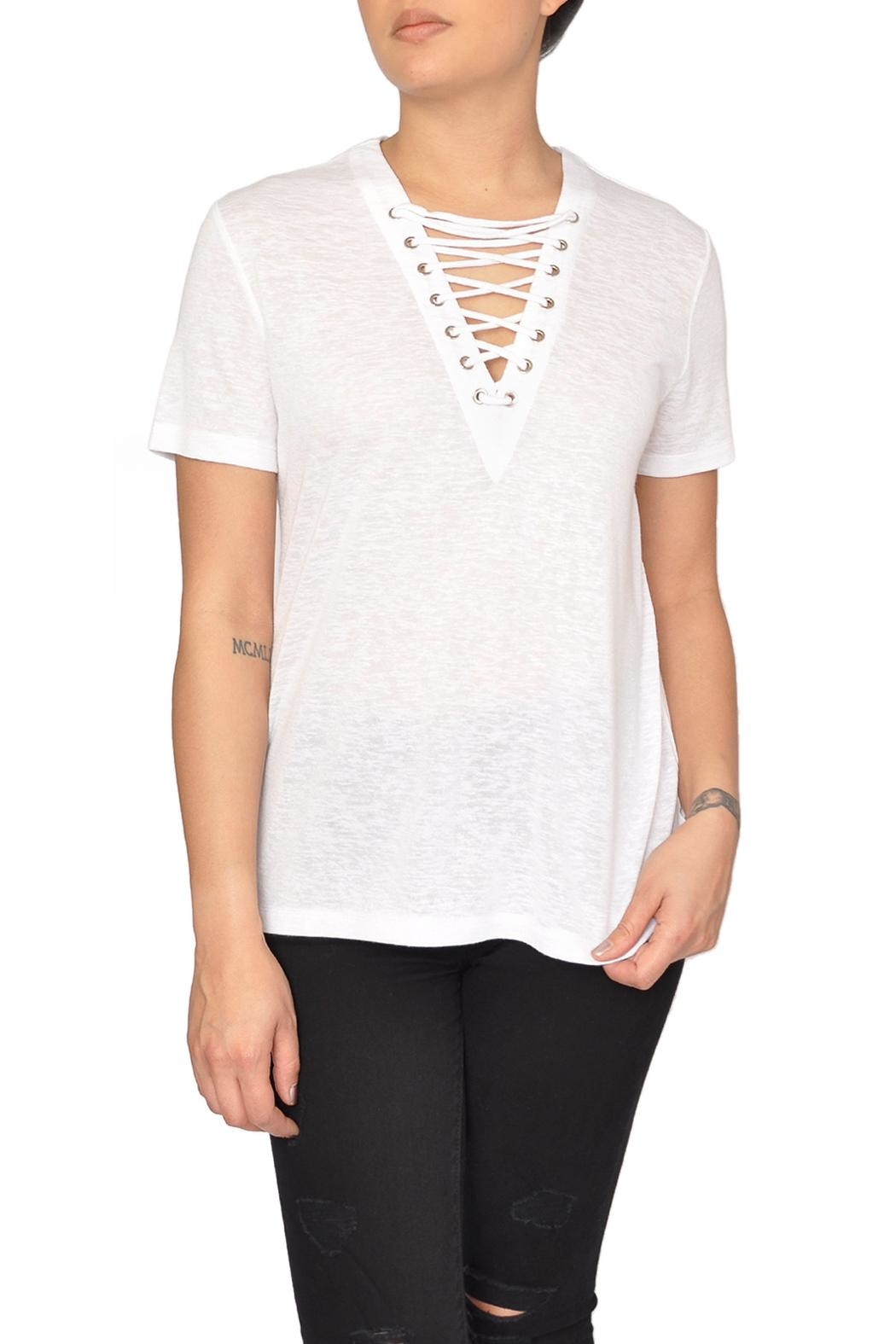 CAARA White Lace-Up Tee - Main Image