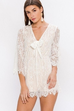 Flying Tomato White Lacey Romper - Product List Image