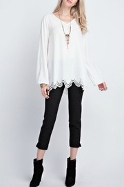 12pm by Mon Ami White Laser-Cut-Hem Top - Front cropped