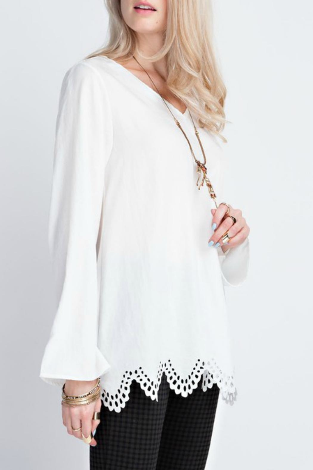 12pm by Mon Ami White Laser-Cut-Hem Top - Front Full Image