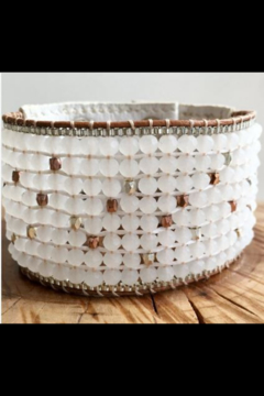 NAKAMOL CHICAGO White Leather Beaded Bracelet - Product List Image