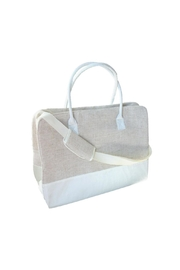 Mainstreet Collections White Linen Duffle - Front cropped