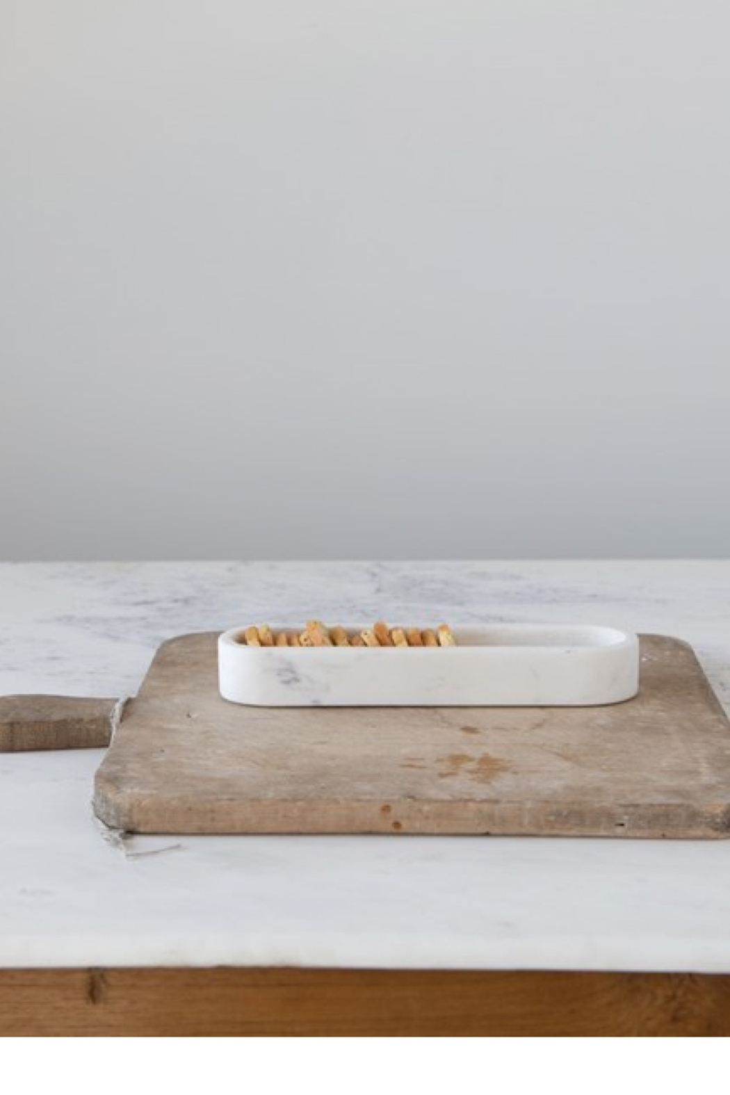 Creative Co-Op White Marble Cracker Dish - Back Cropped Image