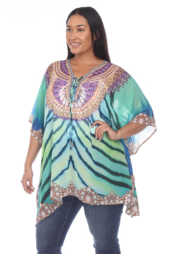 White Mark  Plus Size Short Caftan with Tie-up Neckline - Product List Image