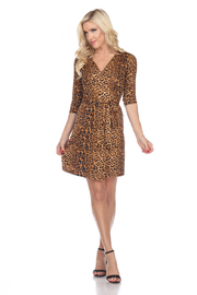 WhiteMark White Mark's Animal Print Wrap Dress - Product Mini Image